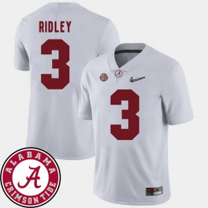 College Football Calvin Ridley Alabama Jersey 2018 SEC Patch White #3 For Men 289197-318