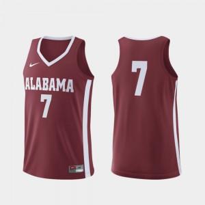 Crimson Alabama Jersey Replica Men College Basketball #7 139183-789