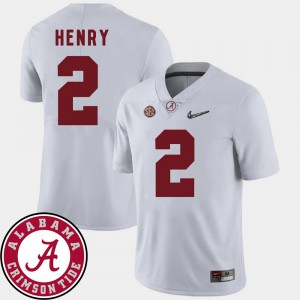 White 2018 SEC Patch College Football Derrick Henry Alabama Jersey Men #2 599067-156