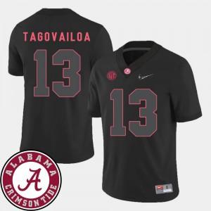Mens Black College Football Tua Tagovailoa Alabama Jersey #13 2018 SEC Patch 645809-322