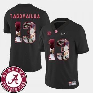 Tua Tagovailoa Alabama Jersey Men's Black Pictorial Fashion Football #13 911761-970