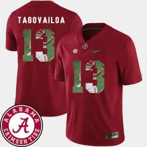 Pictorial Fashion Tua Tagovailoa Alabama Jersey Football Men #13 Crimson 455397-802
