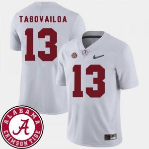 White Men 2018 SEC Patch College Football #13 Tua Tagovailoa Alabama Jersey 773014-731