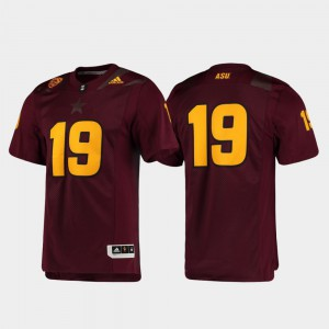 For Men's Premier Football Maroon ASU Jersey #19 171251-495
