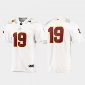 Men White #19 Football Premier ASU Jersey 382719-541