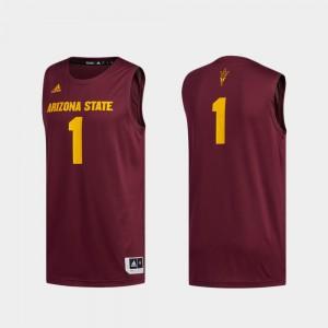Maroon Basketball Swingman Men's #1 Swingman Basketball ASU Jersey 246809-264