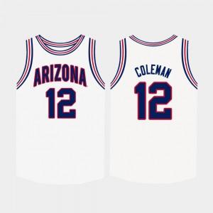 White Justin Coleman Arizona Jersey Men's #12 College Basketball 482967-290