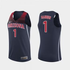College Basketball Nico Mannion Arizona Jersey Navy #1 Replica Men's 418106-847