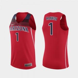 Nico Mannion Arizona Jersey For Men's College Basketball Replica #1 Red 148800-189