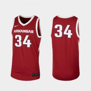 College Basketball For Men's Arkansas Jersey #34 Cardinal Replica 737401-463