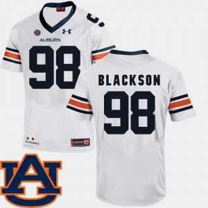 White Angelo Blackson Auburn Jersey College Football SEC Patch Replica #98 Mens 379654-932