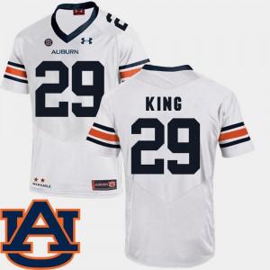 College Football #29 White Brandon King Auburn Jersey SEC Patch Replica For Men 202022-394