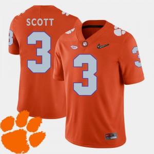 College Football #3 Mens Artavis Scott Clemson Jersey 2018 ACC Orange 180445-964