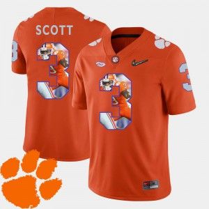 Artavis Scott Clemson Jersey Men #3 Pictorial Fashion Orange Football 116141-677
