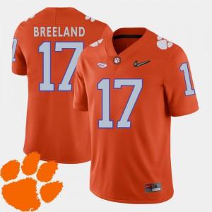 College Football Bashaud Breeland Clemson Jersey For Men #17 2018 ACC Orange 252675-842