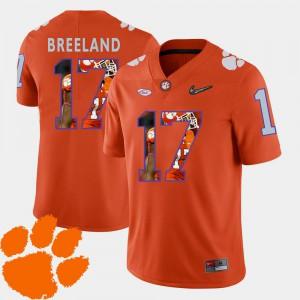 Bashaud Breeland Clemson Jersey Football Men #17 Orange Pictorial Fashion 956908-359