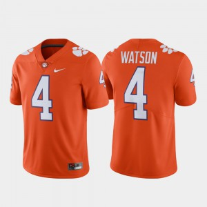 Alumni Football #4 Deshaun Watson Clemson Jersey Limited Orange For Men 582438-852