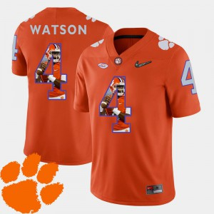 DeShaun Watson Clemson Jersey Mens Orange #4 Pictorial Fashion Football 526340-710