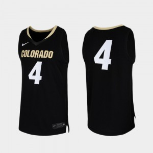 For Men College Basketball Replica Colorado Jersey Black #4 394300-157