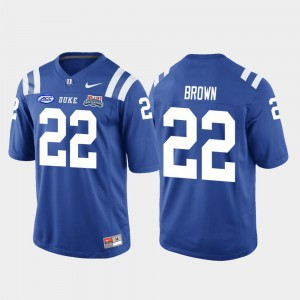 #22 Royal Brittain Brown Duke Jersey 2018 Independence Bowl Mens College Football Game 460940-119