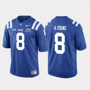 College Football Game Men's Royal Aaron Young Duke Jersey #8 2018 Independence Bowl 312803-355