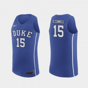#15 Alex O'Connell Duke Jersey Royal March Madness College Basketball Authentic For Men's 846560-153