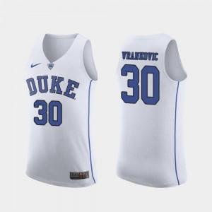 #30 Authentic March Madness College Basketball Antonio Vrankovic Duke Jersey For Men's White 154240-178