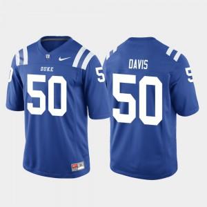 For Men #50 Game Royal College Football Austin Davis Duke Jersey 772675-291