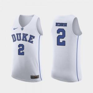 Authentic Men's #2 Cam Reddish Duke Jersey White March Madness College Basketball 164879-366