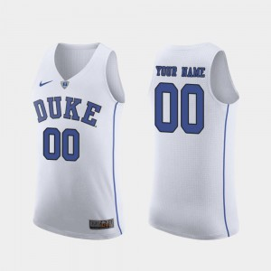 White #00 March Madness College Basketball Duke Custom Jersey For Men's Authentic 553846-436