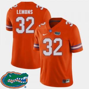 Orange #32 2018 SEC Men College Football Adarius Lemons Gators Jersey 972387-814