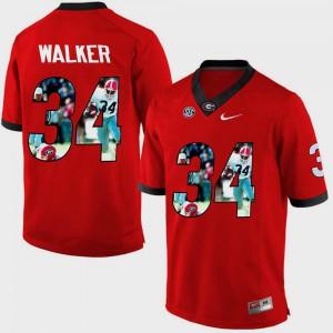 Pictorial Fashion Men Red Herschel Walker UGA Jersey #34 481759-502