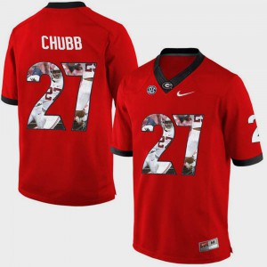 Pictorial Fashion Mens Nick Chubb UGA Jersey Red #27 409026-938