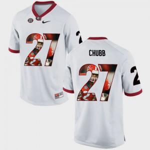Nick Chubb UGA Jersey White #27 Men Pictorial Fashion 534510-502