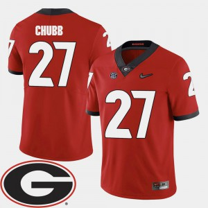 For Men 2018 SEC Patch Nick Chubb UGA Jersey #27 College Football Red 298932-964