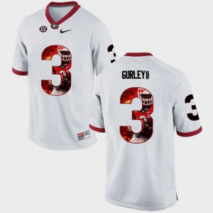 #3 White Mens Pictorial Fashion Todd Gurley II UGA Jersey 463888-744