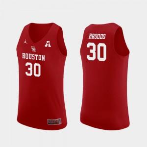 Replica Caleb Broodo Houston Jersey #30 Mens College Basketball Red 447902-960
