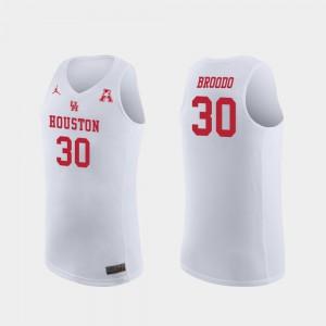 College Basketball Caleb Broodo Houston Jersey #30 Replica White Mens 697939-552