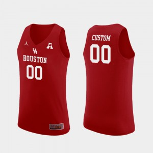 Houston Custom Jersey #00 Red Replica College Basketball Men's 691935-195