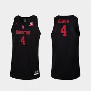 Justin Gorham Houston Jersey College Basketball Men Replica Black #4 344775-318
