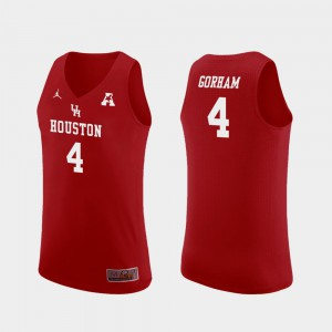 Justin Gorham Houston Jersey For Men's College Basketball Replica #4 Red 950469-276