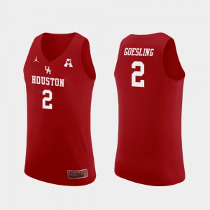 Red Landon Goesling Houston Jersey For Men's Replica College Basketball #2 397729-775