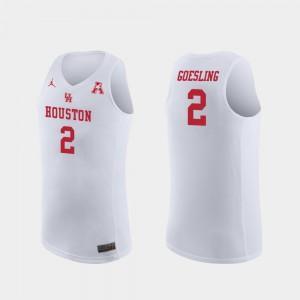 College Basketball #2 Replica Landon Goesling Houston Jersey White For Men's 469229-792