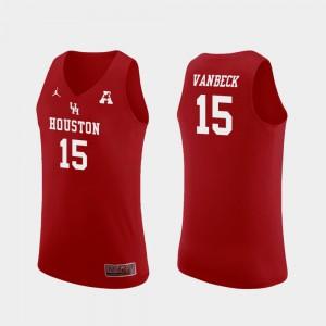 Replica Men College Basketball Red Neil VanBeck Houston Jersey #15 214095-485