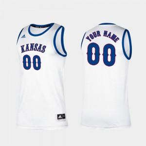 #00 Classic College Basketball KU Customized Jersey Men White 346399-461