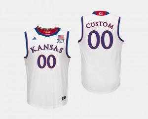 White KU Customized Jerseys Men's College Basketball #00 418457-463