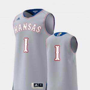 College Replica KU Jersey Mens Basketball Swingman Gray #1 891883-679