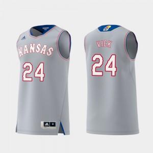 Lagerald Vick KU Jersey For Men's Gray Replica Swingman College Basketball #24 448499-518