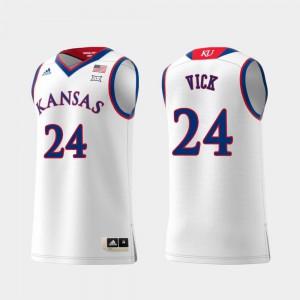#24 Mens Swingman College Basketball Lagerald Vick KU Jersey White Replica 130557-297