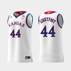 Swingman College Basketball #44 Replica White Mitch Lightfoot KU Jersey Men's 624937-644
